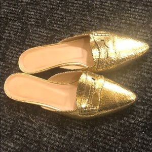 J. Crew Gold Shimmery Slip On Loafers